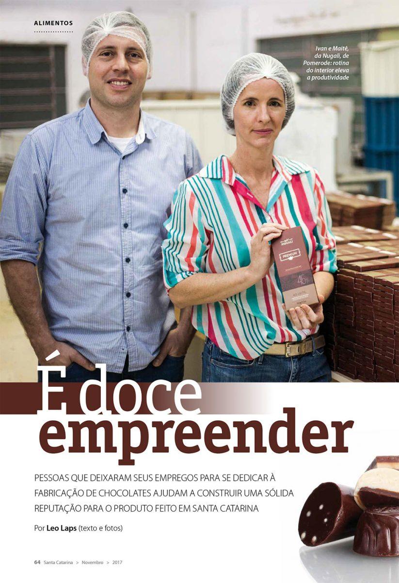 Retrato com os criadores da Nugali Chocolates Gourmet em Pomerode abre reportagem
