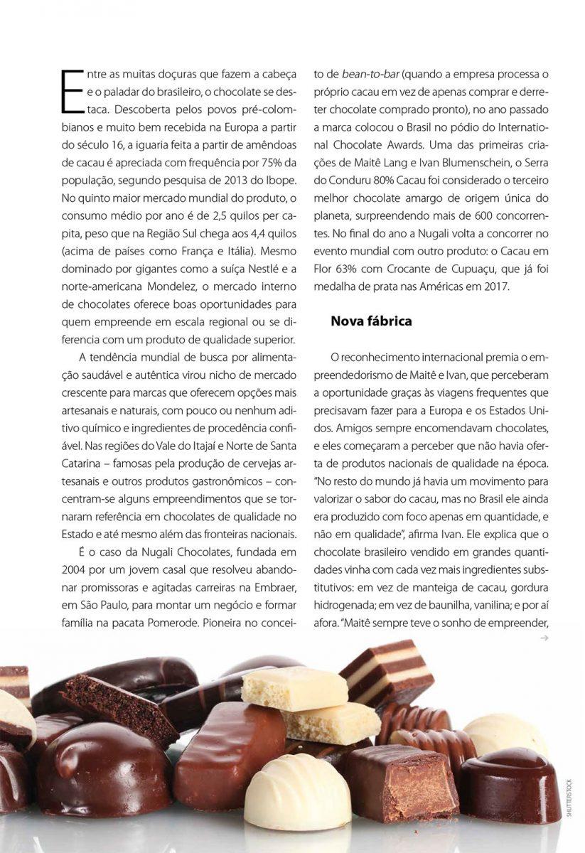 Reportagem sobre chocolate gourmet em SC