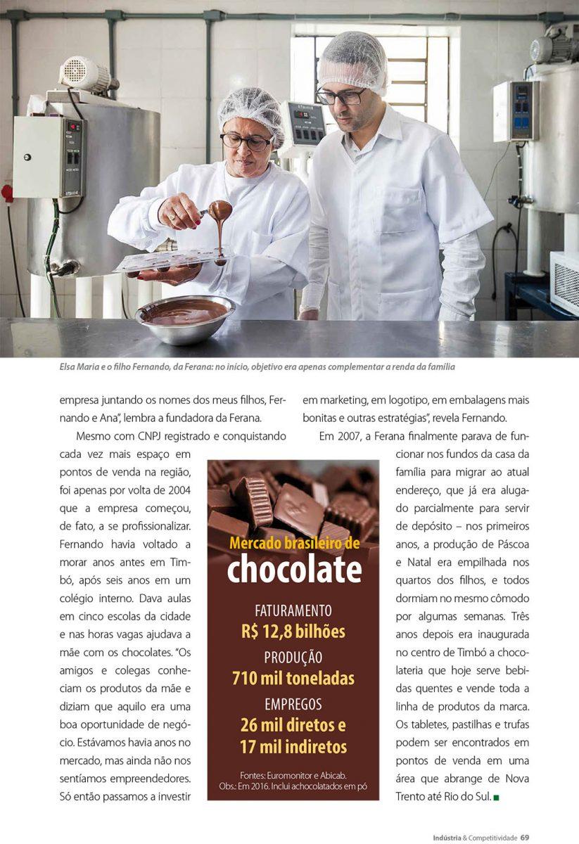 Retrato dos proprietários da Chocolates Ferana em TImbó, preparando doces