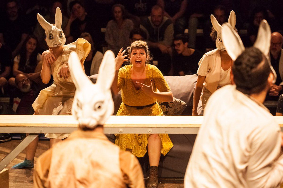 Cercada por coelhos-atores, a protagonista de Leporofobia durante cena no FITUB 2017, em Blumenau