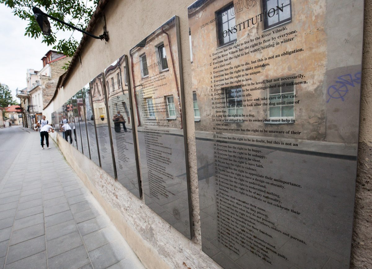 The Uzupis Constitution is written in several languages on one of the walls of the neighbourhood in Vilnius, Lithuania