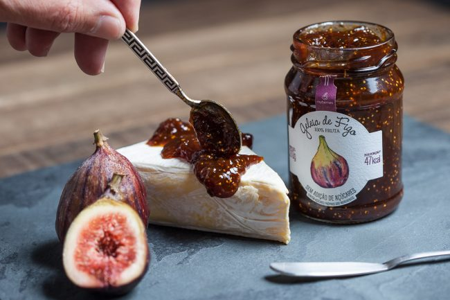 Fig Jam with brie cheese, food photography